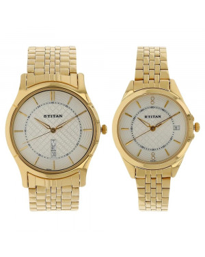 Titan Bandhan Silver Dial Stainless Steel Strap Watches For Couple 16362565YM01