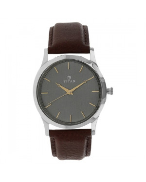 Ttian Black Dial Brown Leather Strap Watch 1674SL02