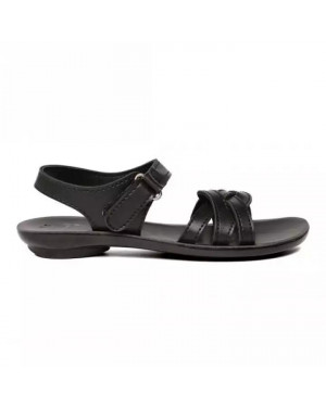 Paragon Black Solea Ankle Strap Slippers For Women 7916