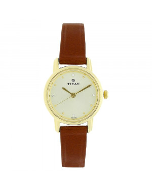 Titan Champagne Dial Brown Leather Strap Watch For Women 2572YL01
