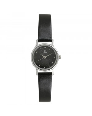 Titan Black Dial Black Leather Strap Watch For Women 2593SL01