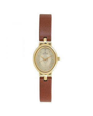 Titan Champagne Dial Brown Leather Strap Watch For Women 2594YL01