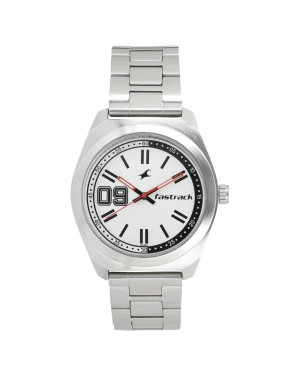 Fastrack Varsity White Dial Stainless Steel Strap Watch For Guys 3174SM01