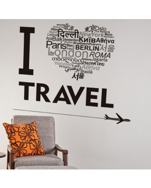 I Love Travel Home Decor DIY Black Wall Art Decals Removable Wall Sticker 43001368