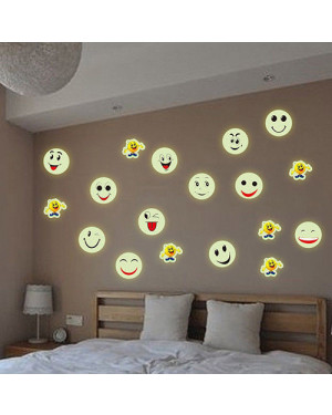 Smiley Face Emoji Wall Sticker Luminous Decals Kids Room Decor 43001509