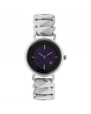 Fastrack Purple Dial Silver Stainless Steel Strap Watch For Girls 6117SM02