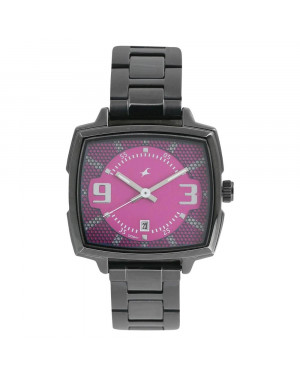 Fastrack Loopholes Pink Dial Stainless Steel Strap Watch For Girls 6167NM01