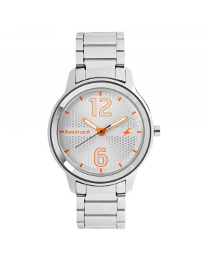 Fastrack Loopholes White Dial Stainless Steel Strap Watch For Girls 6169SM01