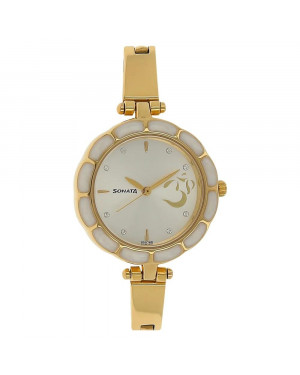 Sonata Silver Dial Golden Stainless Steel Strap Watch For Women 8120YM01