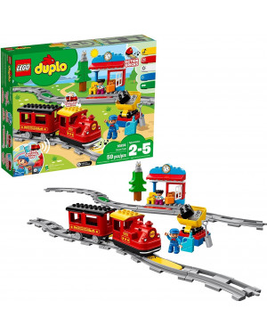 LEGO DUPLO Steam Train Remote-Control Building Blocks Set Helps Toddlers Learn,Great Educational Birthday Gift (59 Pieces) 10874