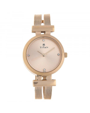Titan Rose Gold Dial Stainless Steel Strap Watch For Women Nk9942WM01