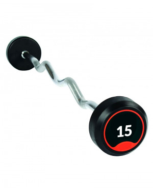 Fixed Rubber Curl Barbell 15kg