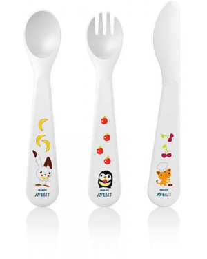 Philips Avent Toddler Fork,Spoon and Knife, 18 Months+ SCF714/00