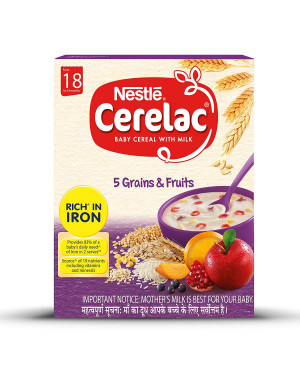 Nestle Cerelac Fortified baby Cereal With Milk 300g - 5 Grains & Fruits Stage 5, 18 to 24 Months