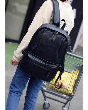 Korean Design Two Front Pockets PU Leather Shoulder Laptop Backpack-Black 41001755