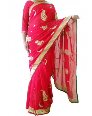 Red Saree with Thread Work