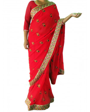 Light Red Gorgette Saree with Flower border