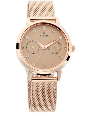 Titan Sparkle Beige Dial Rose Gold Mesh Strap Analog Multi Function Watch for Women 2569WM04