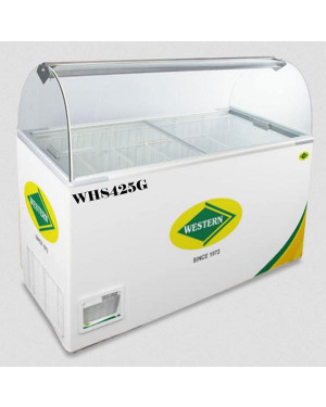 Western Curved Glass Deep Freezer with Scooping Cabinet 440 Litres WHS425G